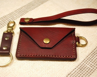 Handmade Red Leather minimalist wallet with wristlet and key chain/key fob, hand stitched and dyed, small wallet, veg tanned leather