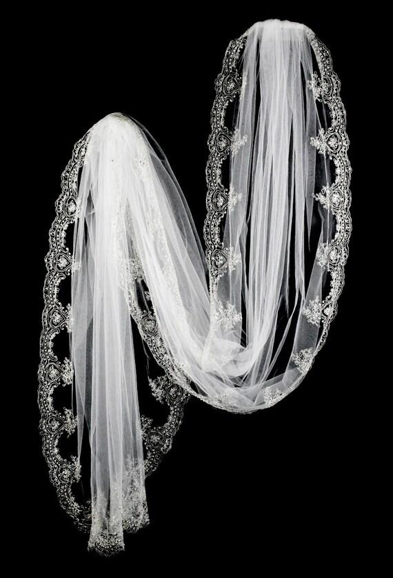 Floor Length Crystal Veil Chapel Wedding