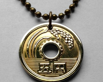 Japanese pendant etsy 1964 to 2008 japan 5 yen coin pendant nippon rice stalk good luck charm japanese tokyo mozeypictures Images