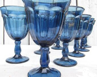 Cobalt Blue Wine Goblets, Blue Wine Glasses, Old Williamsburg Antique Blue Stemware, Imperial Glass Water Goblets, Wedding Gift, Blue Glass