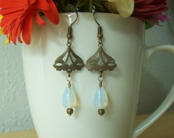 Handmade Brass and Natural Moonstone Art Nouveau Style Earrings