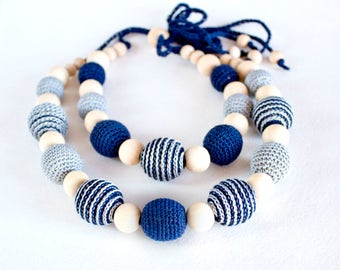 Navy Blue Nursing Necklace, mom&baby, Teething Necklace Wooden Crochet Necklace, Swirly Boho Summer Crochet Necklace, gift for new mother