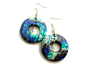 Purple and Blue Abstract Statement Earrings