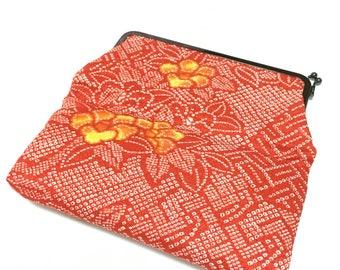 Vintage kimono bag, Japanese bag, red bag, Vintage bag, sibori bag