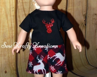 "Doll Shorts Set - Plaid Flannel Shorts and T-Shirt - for 18"" doll like American Girl"
