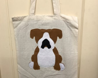 Bulldog dog tote bag