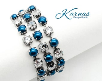 SILVER BELLS 8mm Multi-Row Crystal Chaton Bracelet Made With Swarovski Elements *Pick Your Finish *Karnas Design Studio *Free Shipping