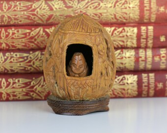 Carved Chinese Walnut Shell Netsuke Monks