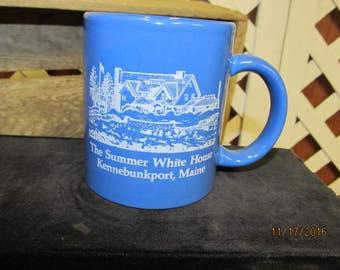 Vintage Kennebunkport Maine Summer White House Coffee Cup Mug Blue Decorative Souvenir Mug