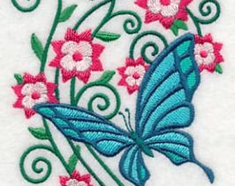 PAIR hand towels - burst of spring butterfly 4 -  15 x 25 inch for kitchen / bathroom MORE COLORS
