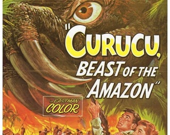 """50% Off Estate Sale Vintage Horror Science Fiction Movie Poster Print, 1956, Curucu, Beast of the Amazon, PMSF 11"""" x 14"""""""