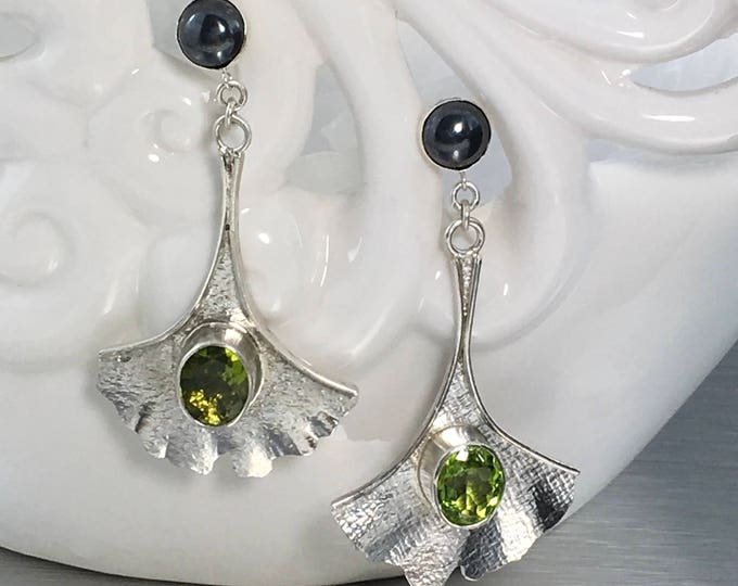 Featured listing image: Gorgeous Sterling Silver Ginkgo Leave Dangle Earrings, set with 10mm Genuine Peridot Gemstones