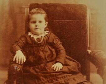 ON SALE Canton Illinois IL 1800's Wealthy Little Girl Antique Old Vintage Photograph Photo