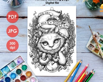 CHESHIRE CAT COLOURING Page