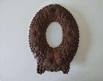 Vintage Black Forest Oval Carved Picture Frame