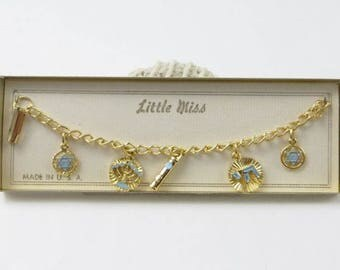 Little Miss Charm Bracelet, Jewish Themed Charms, Star of David, Menorah, Gold and Blue