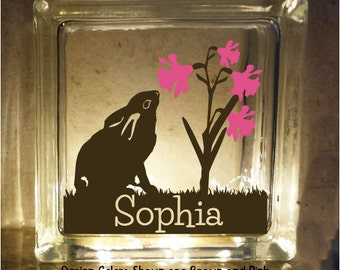 Springtime Bunny and Daffodils Personalized Decorative Glass Block/Piggy Bank Decal / Vinyl Decal