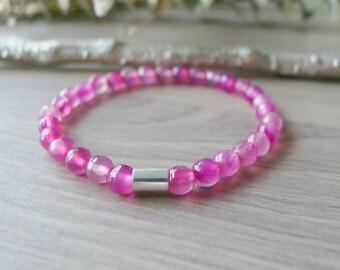 Pink Bracelet, Stone Bracelet, Pink Stone Bracelet, Crazy Lace Agate, Stretchy Bracelet, Gemstone Bracelet, Bright Jewelry, Fun Stone
