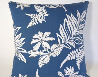 Tropical Pillow Cover, Navy and White Pillow, 18 Inch Pillow