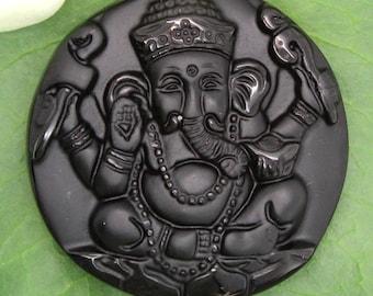 Black Obisidan Hand Carved Ganesh Pendant - Ganesh, Hindu, Buddhist, Mala Pendant, Stone Ganesh Pendant, Large Ganesh Pendant, carved Ganesh
