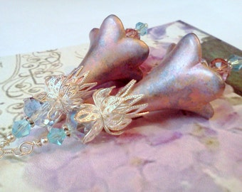 Hand Painted Earrings, Lucite Earrings, Boho Earrings, Handmade Earrings, Flower Earrings, Vintage Earrings, Victorian Earrings, Renaissance