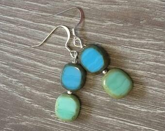Blue and Green Earrings Sea Green Earrings Gemstone Earrings Blue Earrings Beach Earrings Gemstone Earrings Czech Glass Earrings Beaded