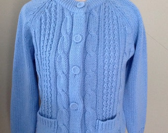 Periwinkle  Blue knit Cardigan.....Vintage 70s.......Cableknit...Fabric covered buttons