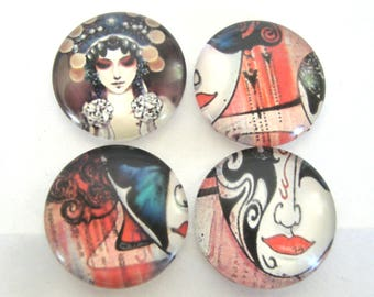 4 Mask Glass Dome 20mm Cabochons