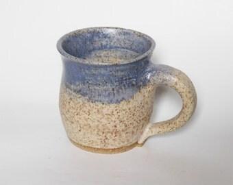 White Stoneware Mug With Blue Rim