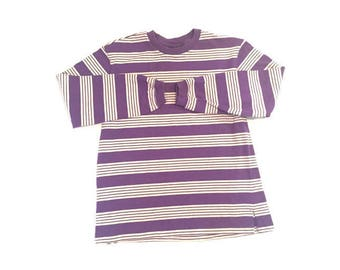Vintage Thick Stripped Purple Long Sleeve Shirt