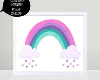 rainbow, rainbow print, rainbow art, rainbow digital art, rainbow decor, rainbow heart, nursery wall art, girl room wall art, rainbow poster