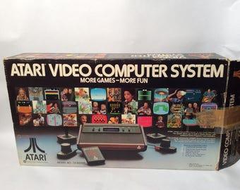 Vintage 1980s Set of 2 Atari Consoles in Original Box CX2600 and 5200 Console