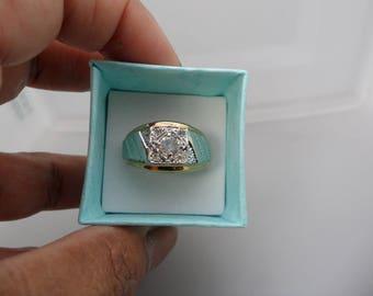 Cool Mens Rings Fake Diamond Ring Vintage Mens Signet Ring Men Faux Diamond Ring Mid Century Ring Geometric Shapes Two Tone Ring for Him