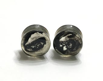 """14mm (9/16"""") The Original Black Smoke Plugs - Gauges - Stretched Ears - Double Flare Plugs"""
