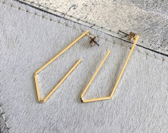 Gold Isosceles Triangle Hoop Earring