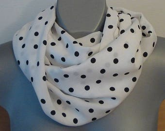 White and black polka dot infinity scarf, Soft Egyptian cotton, Loop neck scarf, Women fashion, Geometric summer circle scarf, unique gift