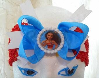 Moana  Cute Blue Hair Bow Red Wide Stretchy Headband Ready To Ship!