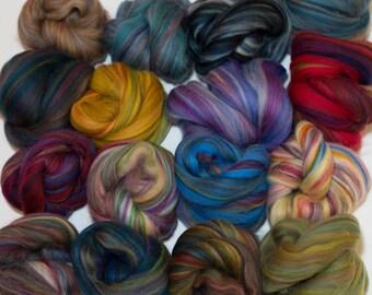 Multi-Colored Merino Wool Sampler, Wool Roving, Assortment, Heather Wool,  Variegated Wool
