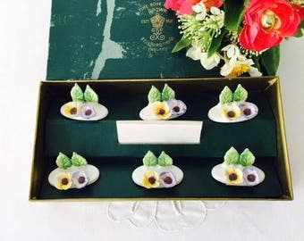 Crown Staffordshire Flower Place Card Holders, Set of 6, 1950s.