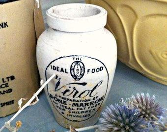 Antique Virol Ideal Food Clay Stoneware Pot Medicine Crock