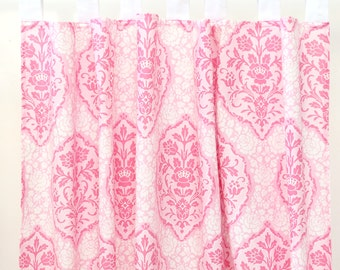 15% OFF SALE - Delaney's Pink and White Damask Curtain Panels (Set of 2) | Pink, White, Damask