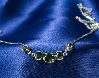 MOLDAVITE NECKLACE Sterling SILVER Pendant Charm Faceted Gem Green Tektite Meteorite Original Czech Jewelry Rings Vltavin Pear Stone Luxury