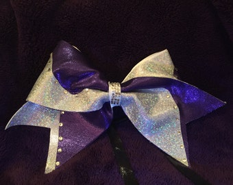 Purple and holo switch up bow