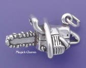 CHAINSAW Charm, .925 Sterling Silver Power Tool, Chain Saw Pendant - lp3560