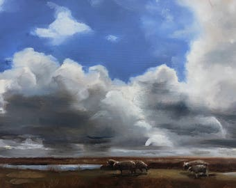Sheep and clouds, landscape with sheep, skyscape, original oil painting