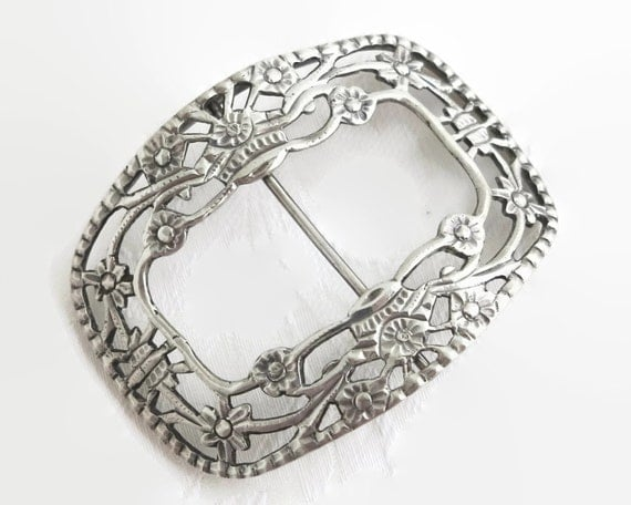 Large antique solid silver belt buckle with floral open work pattern, made in Holland, hallmarked, 833 purity silver, 36 grams, 1895