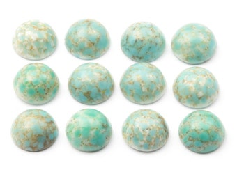 Lot (12) 12mm Czech vintage blue matrix marbled gemstone round domed glass cabochons B454-90
