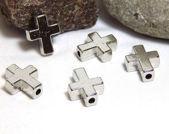 8 Cross Beads, Spiritual Beads, Silver Cross Beads, Crosses, Cross Charms, Cross Focal Beads, Silver Cross Beads, Cross Symbols,  A-43