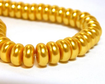 20 8x4mm Yellow Glass Pearls, Yellow Pearl Rondelles, Yellow Beads, Yellow Pearls, Yellow Glass Pearls, Gold Rondelles, D-K15