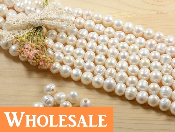WHOLESALE 11mm - 12mm large hole (2.5mm) genuine freshwater pearls, , natuarl round, natural white - 34+PCS per strand